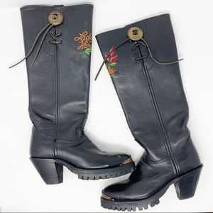 Lady Harley Tall Embroidered Heeled Boots